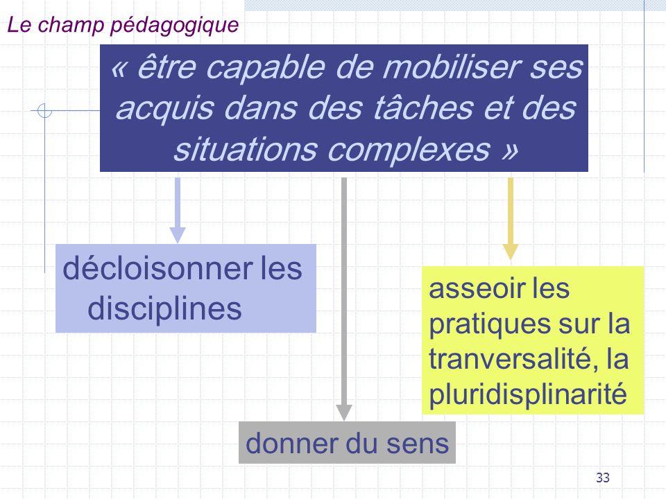 Le champ pédagogique « être capable de mobiliser ses acquis dans des tâches et des situations complexes »