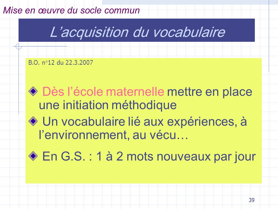 L'acquisition du vocabulaire