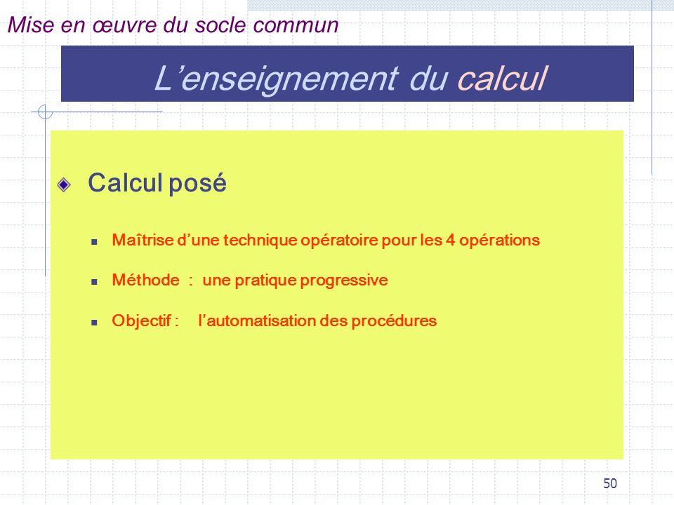 L'enseignement du calcul