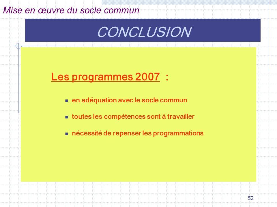 CONCLUSION Les programmes 2007 : Mise en œuvre du socle commun