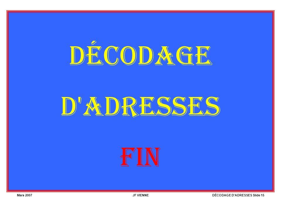DÉCODAGE D ADRESSES FIN Mars 2007 JF VIENNE
