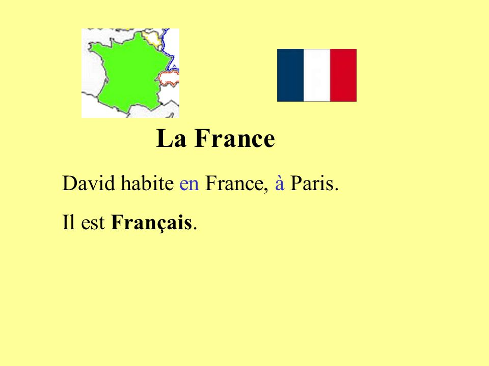 La France David habite en France, à Paris. Il est Français.