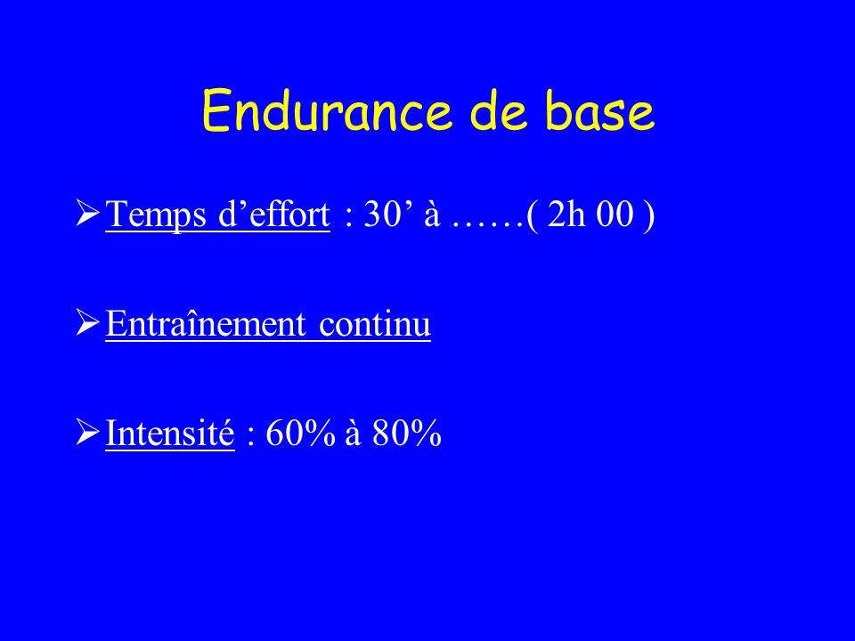 Endurance de base Temps d'effort : 30' à ……( 2h 00 )
