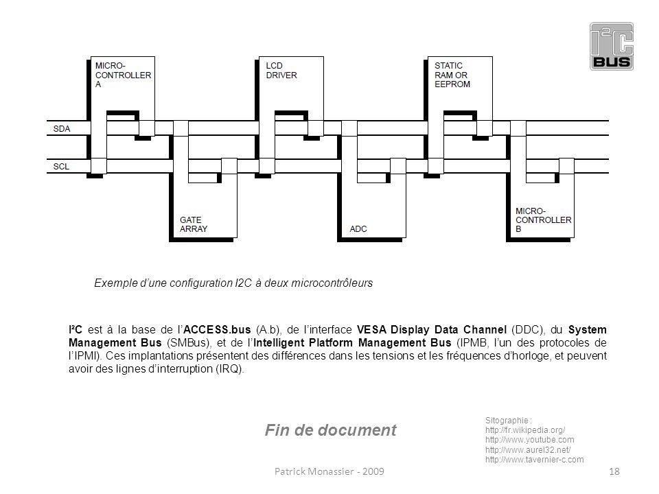 Exemple d'une configuration I2C à deux microcontrôleurs
