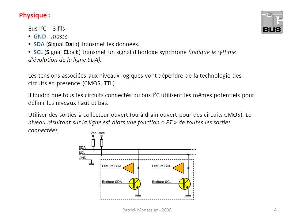Physique : Bus I²C – 3 fils GND - masse