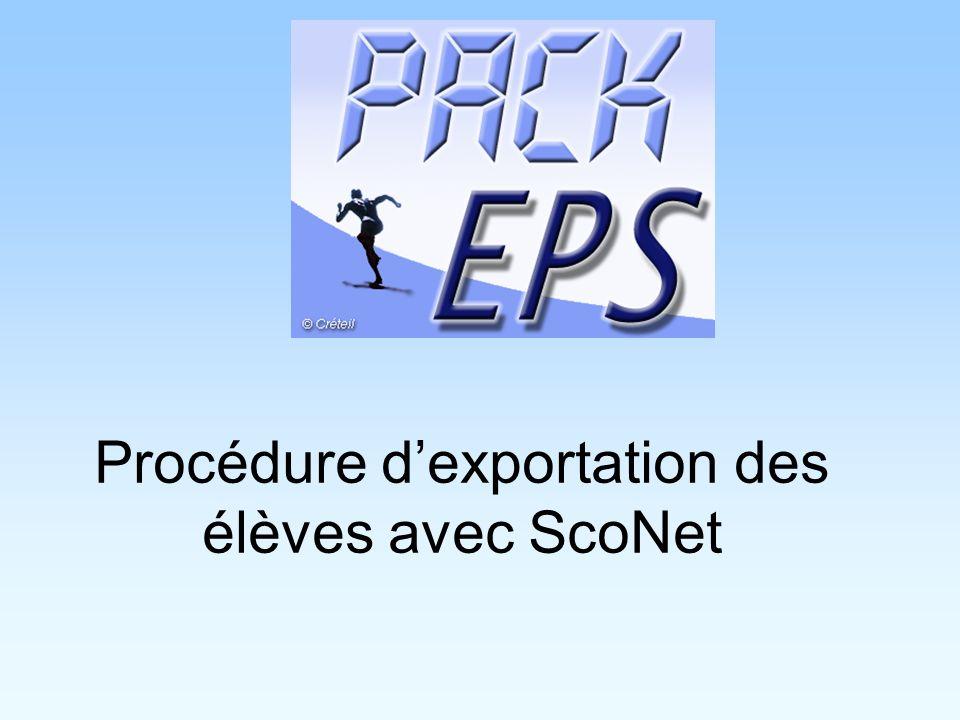 Procédure d'exportation des élèves avec ScoNet
