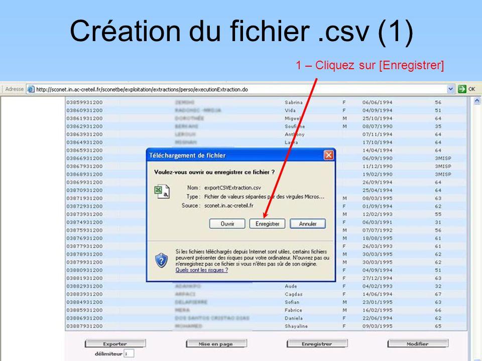 Création du fichier .csv (1)
