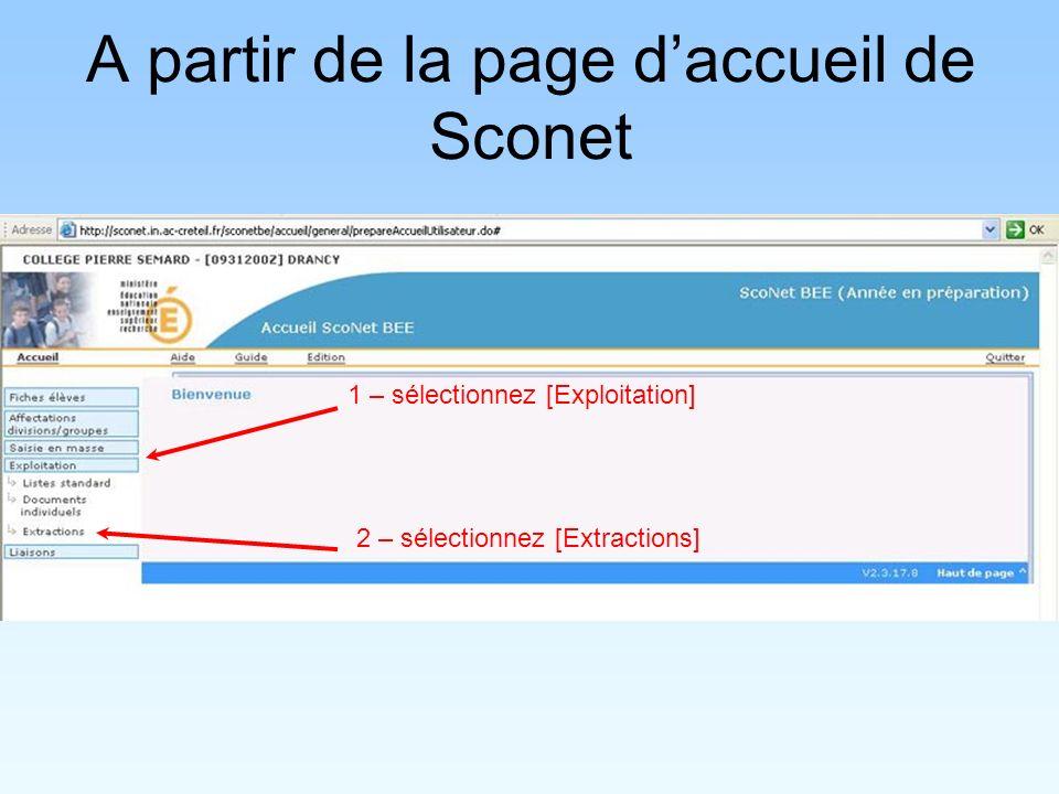 A partir de la page d'accueil de Sconet