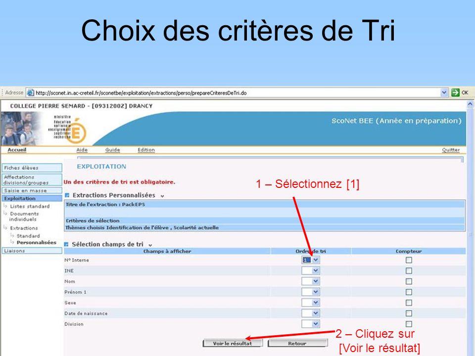 Choix des critères de Tri
