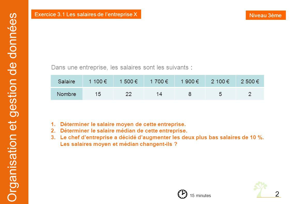 Exercice 3.1 Les salaires de l'entreprise X