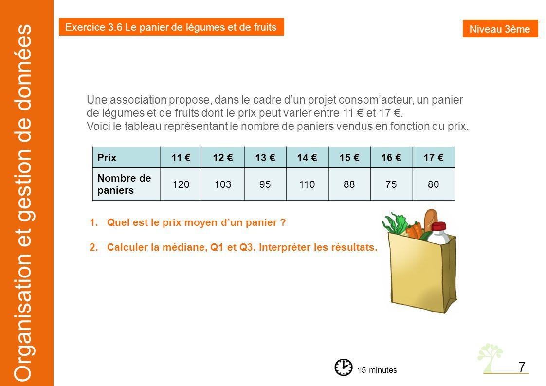 Exercice 3.6 Le panier de légumes et de fruits