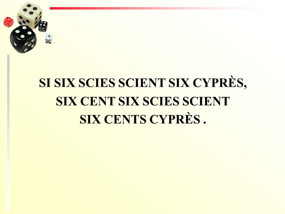 SI SIX SCIES SCIENT SIX CYPRÈS, SIX CENT SIX SCIES SCIENT