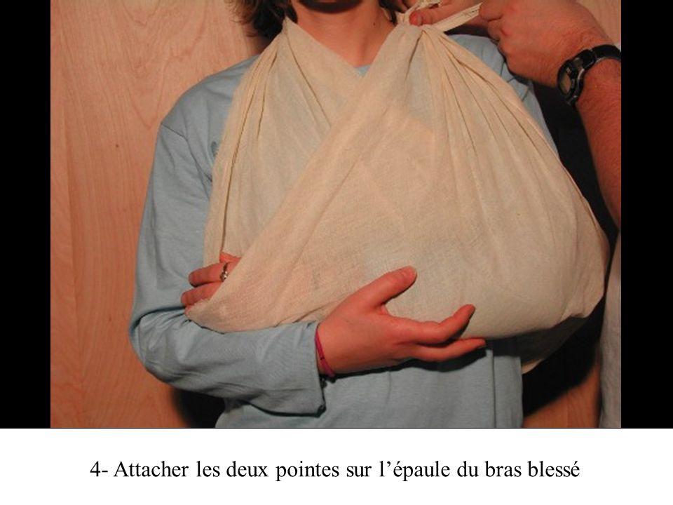 4- Attacher les deux pointes sur l'épaule du bras blessé