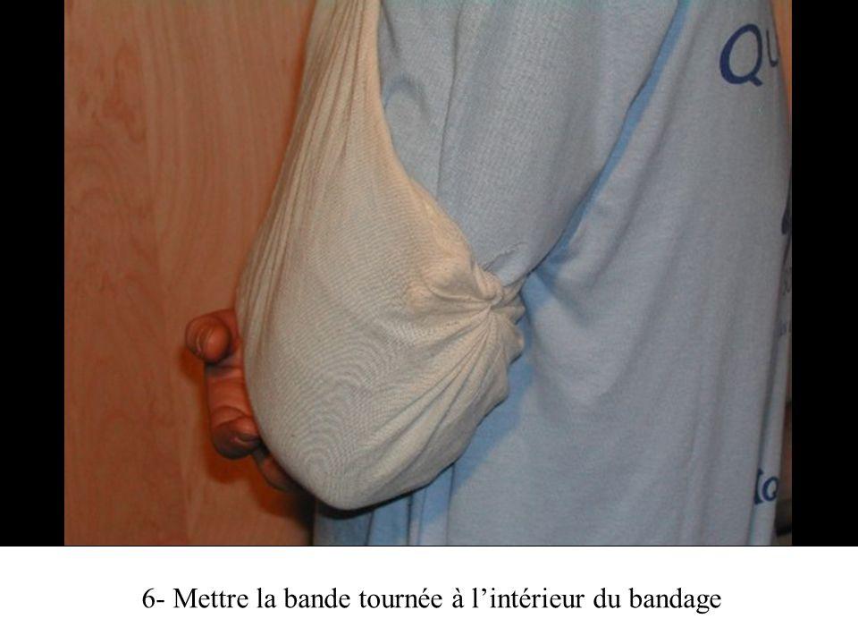 6- Mettre la bande tournée à l'intérieur du bandage