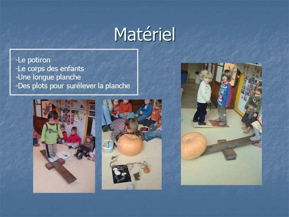 Matériel -Le potiron -Le corps des enfants -Une longue planche