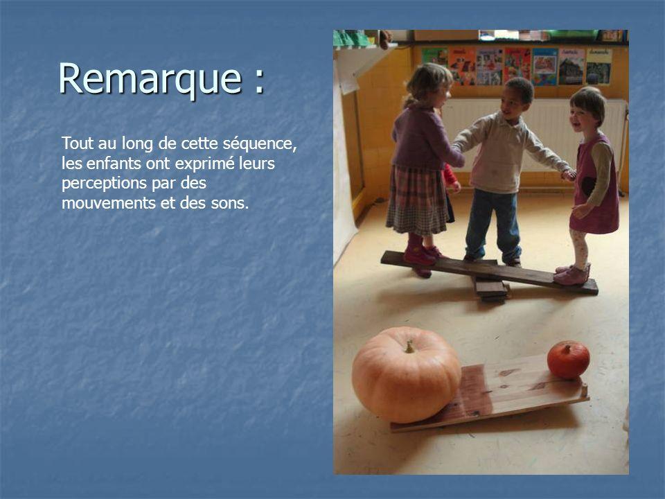 Remarque : Tout au long de cette séquence, les enfants ont exprimé leurs perceptions par des mouvements et des sons.