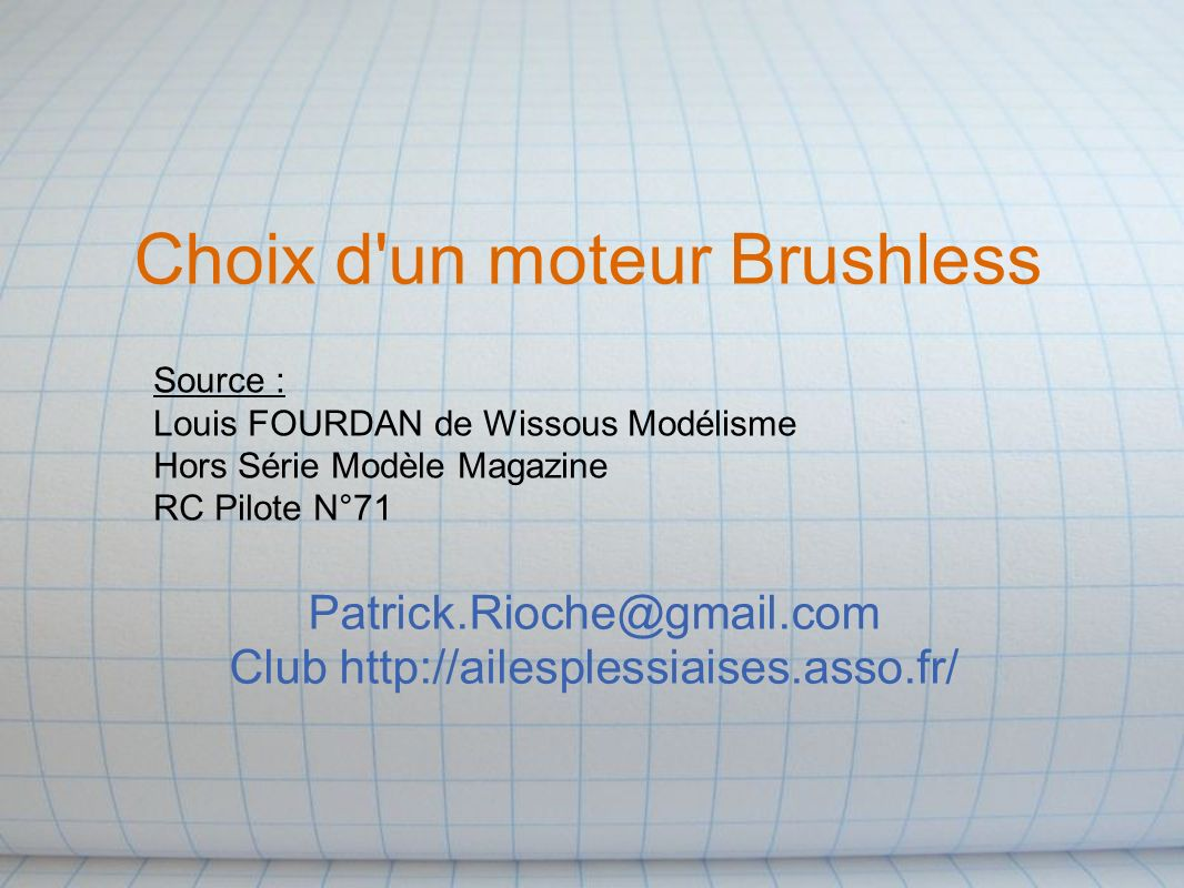 Choix d un moteur Brushless