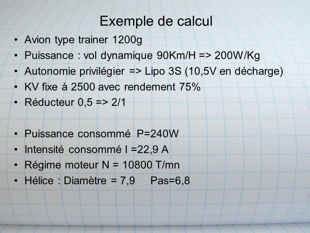 Exemple de calcul Avion type trainer 1200g