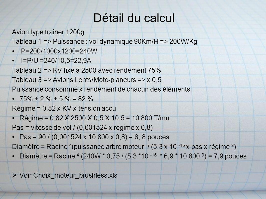 Détail du calcul Avion type trainer 1200g