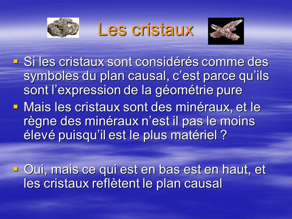 Les cristaux Si les cristaux sont considérés comme des symboles du plan causal, c'est parce qu'ils sont l'expression de la géométrie pure.