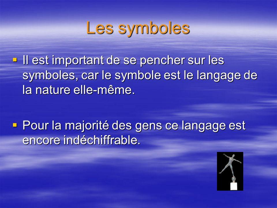 Les symboles Il est important de se pencher sur les symboles, car le symbole est le langage de la nature elle-même.