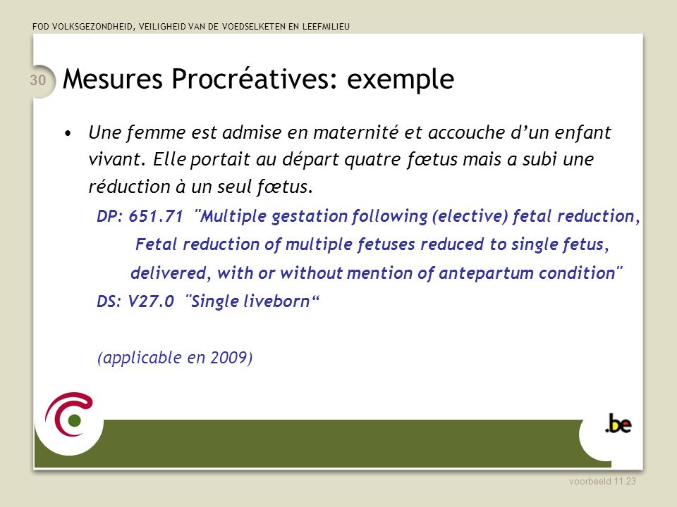 Mesures Procréatives: exemple