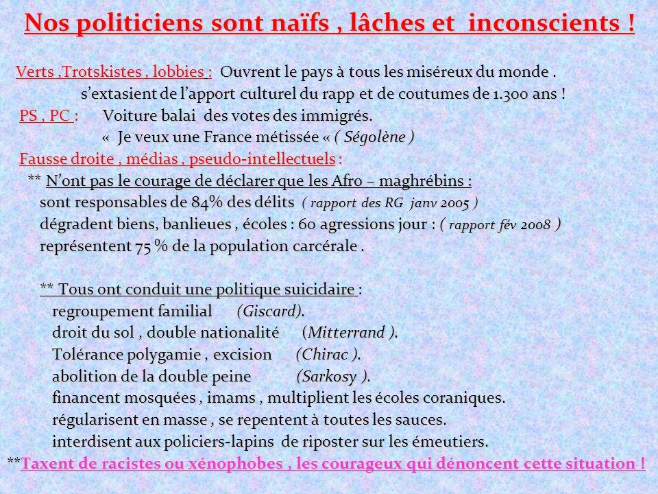 Nos politiciens sont naïfs , lâches et inconscients !