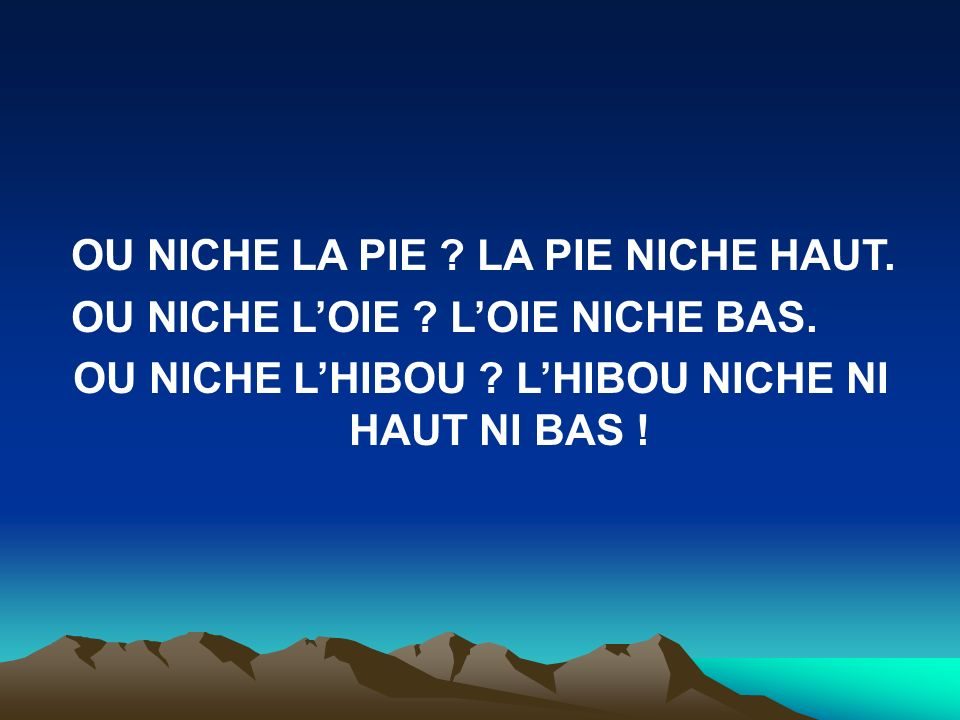 OU NICHE L'HIBOU L'HIBOU NICHE NI HAUT NI BAS !