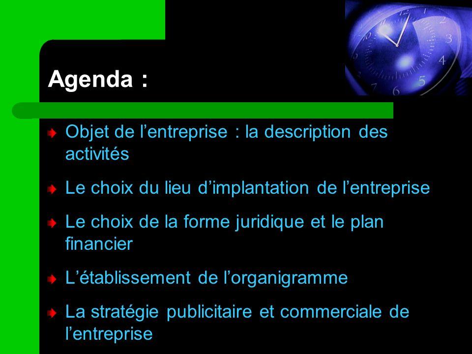 Agenda : Objet de l'entreprise : la description des activités
