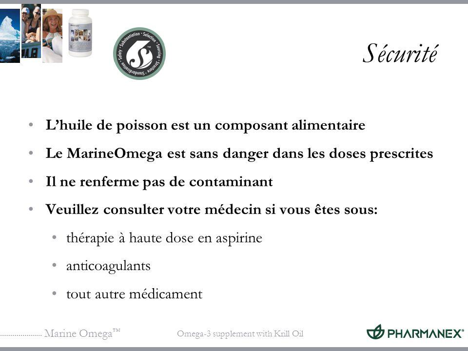 Sécurité L'huile de poisson est un composant alimentaire