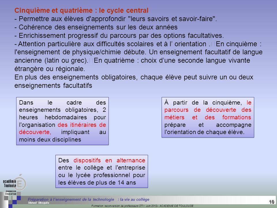 Cinquième et quatrième : le cycle central