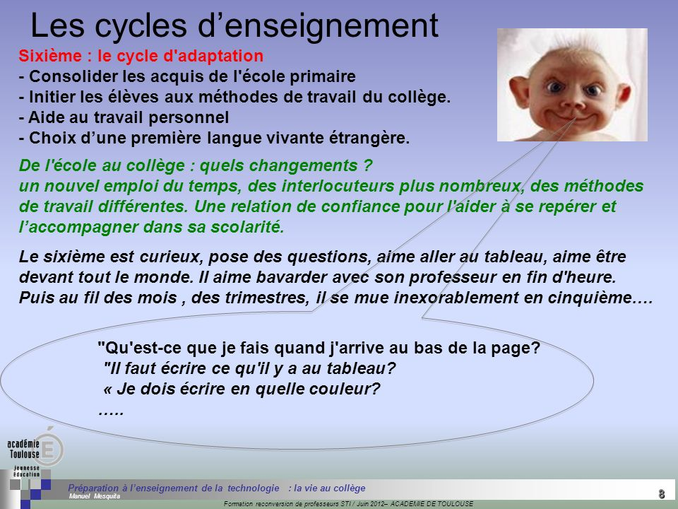 Les cycles d'enseignement