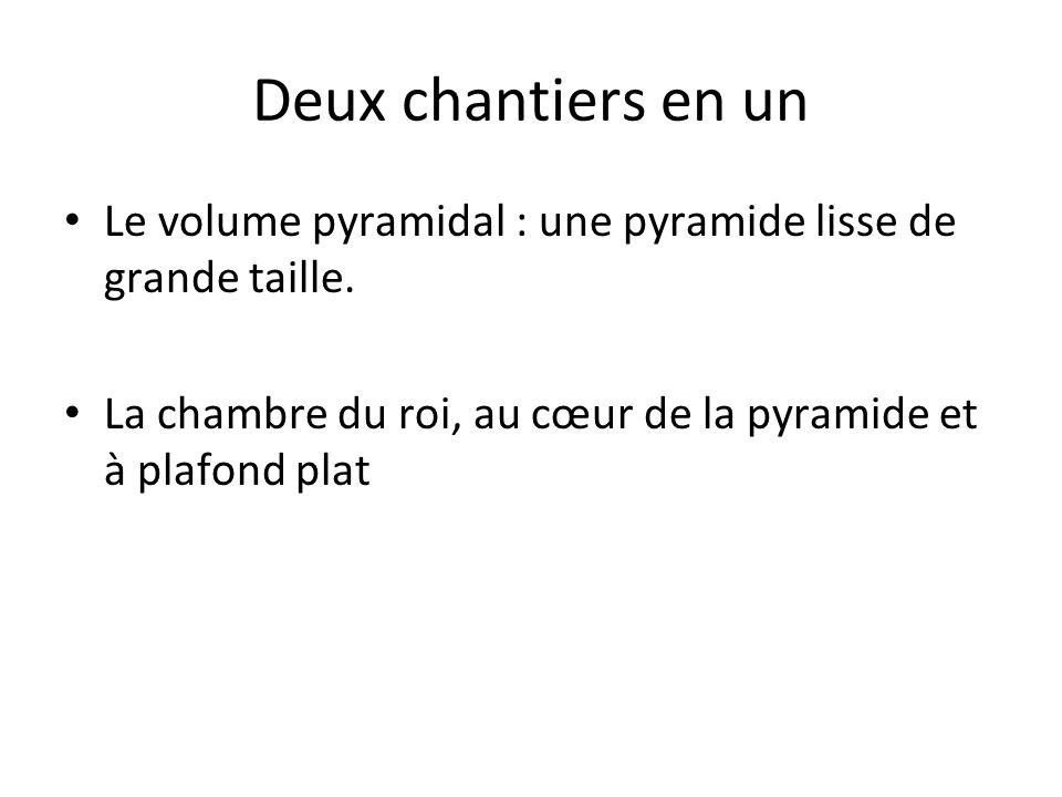 Deux chantiers en un Le volume pyramidal : une pyramide lisse de grande taille. La chambre du roi, au cœur de la pyramide et à plafond plat.