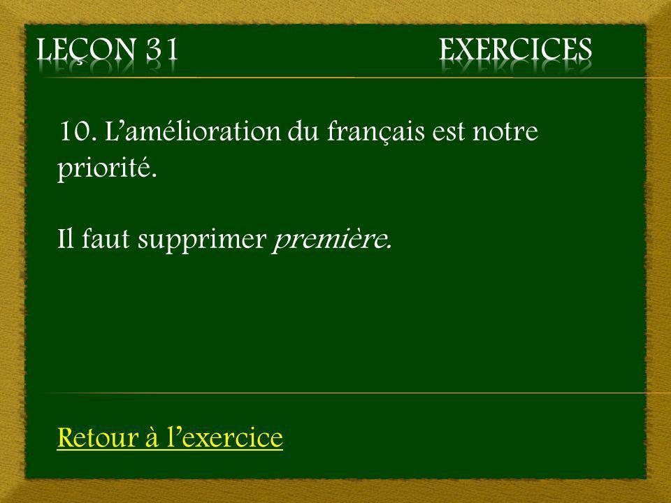 Leçon 31 Exercices 10. L'amélioration du français est notre priorité.