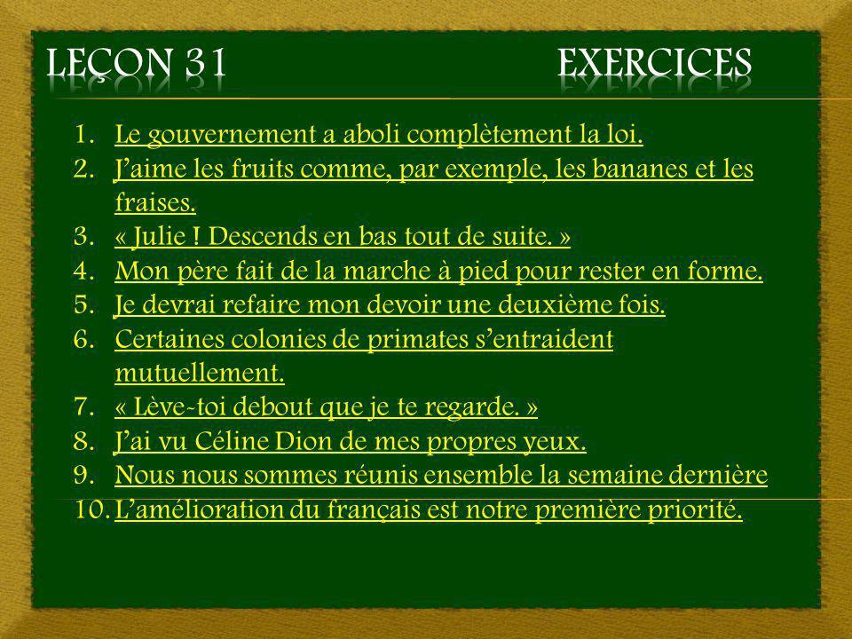 Leçon 31 Exercices Le gouvernement a aboli complètement la loi.