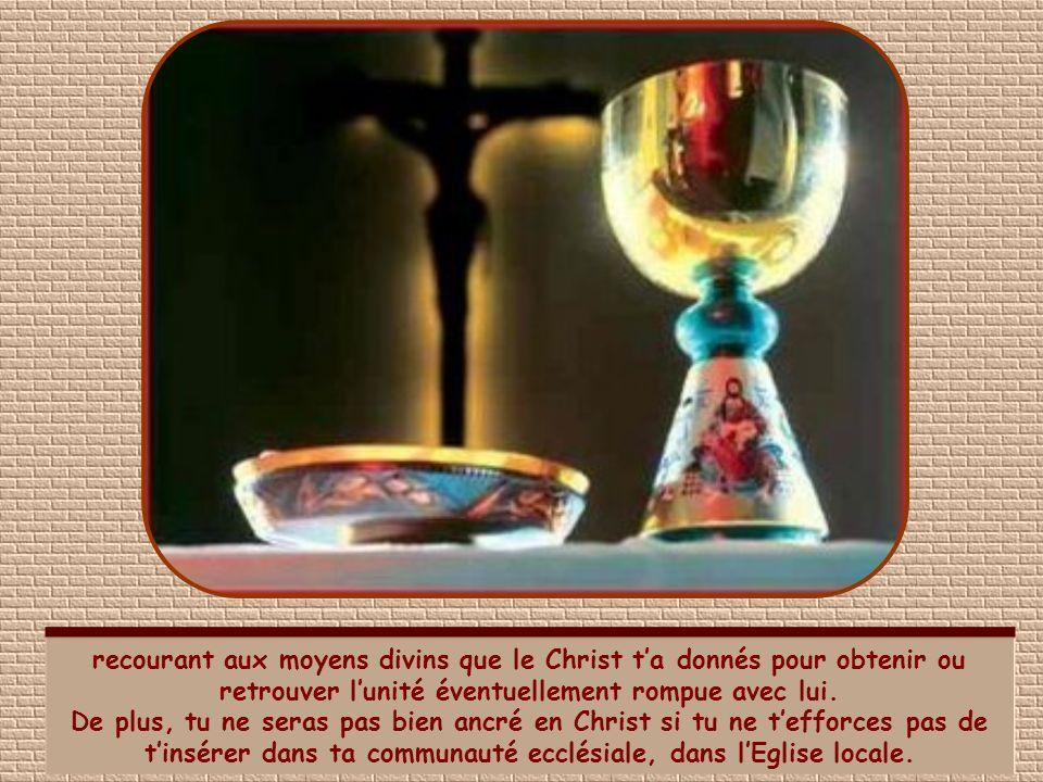 recourant aux moyens divins que le Christ t'a donnés pour obtenir ou retrouver l'unité éventuellement rompue avec lui.