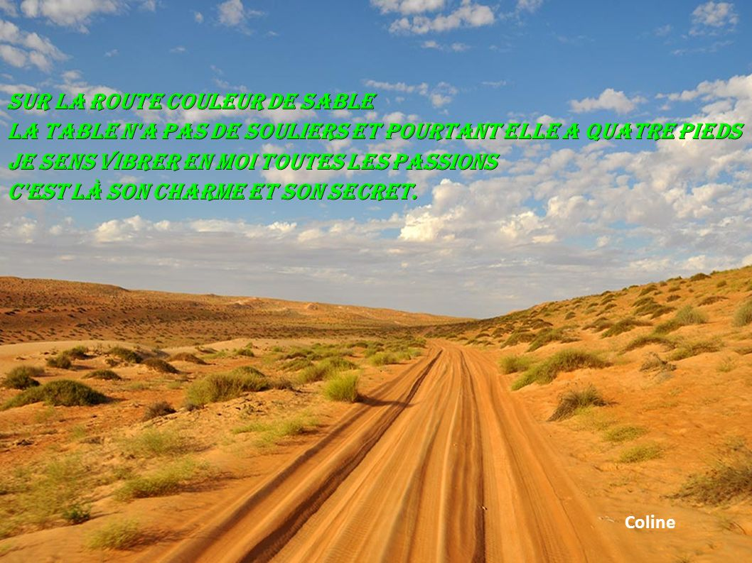 Sur la route couleur de sable