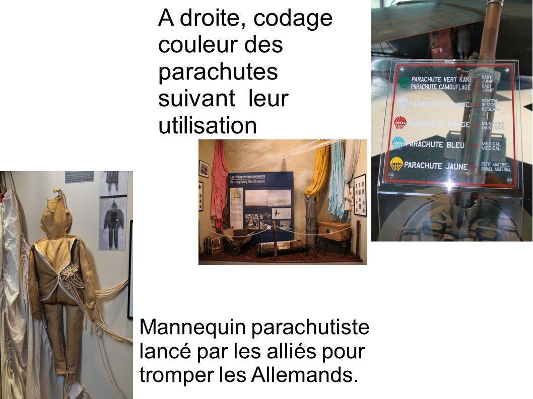 A droite, codage couleur des parachutes suivant leur utilisation