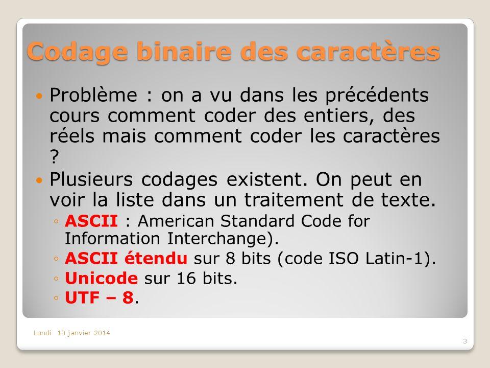 Codage binaire des caractères