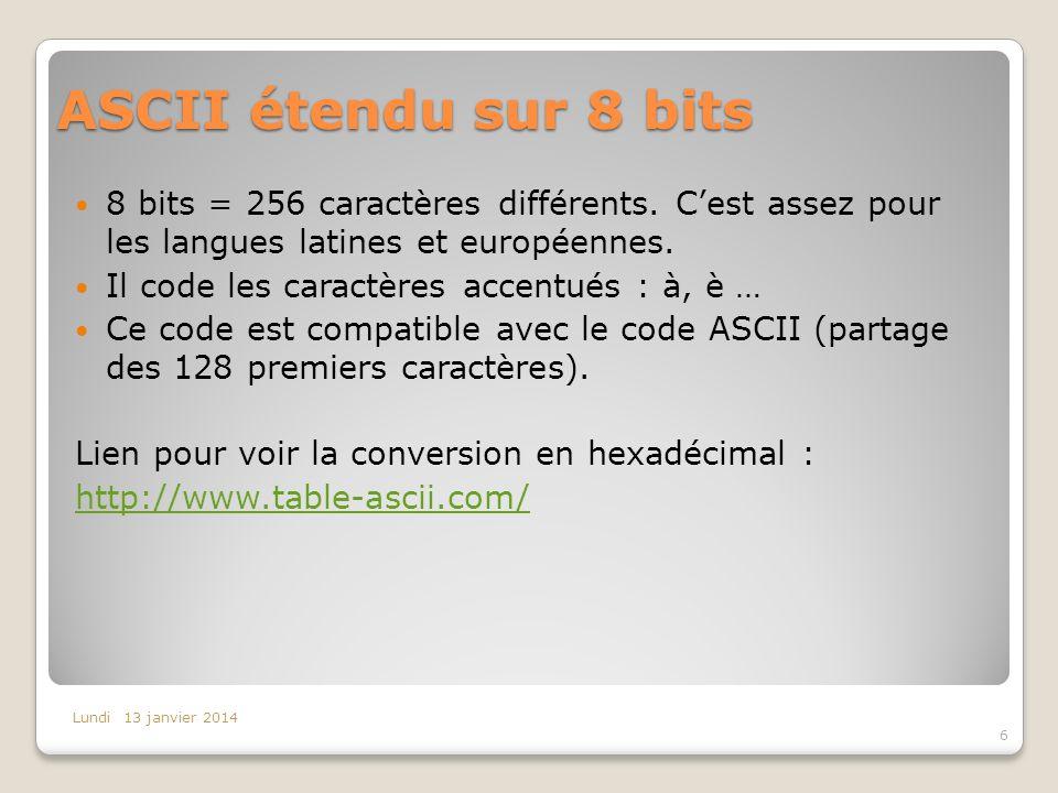 ASCII étendu sur 8 bits 8 bits = 256 caractères différents. C'est assez pour les langues latines et européennes.