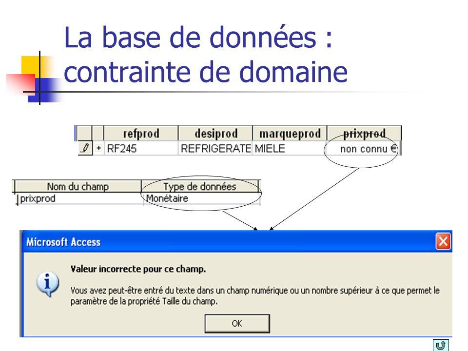 La base de données : contrainte de domaine