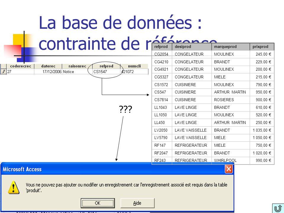 La base de données : contrainte de référence
