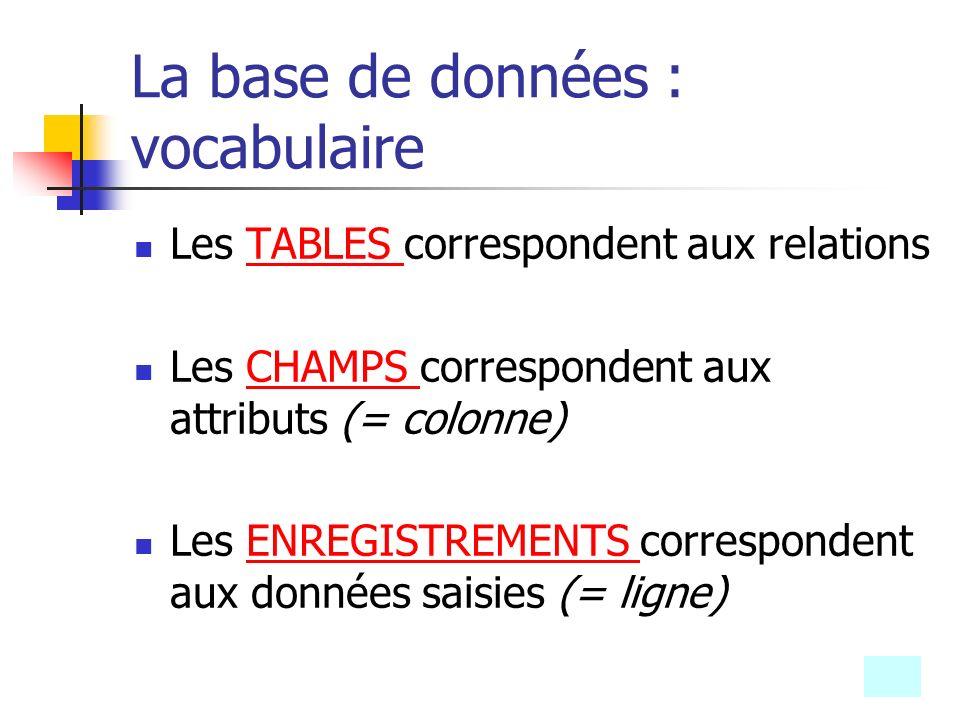 La base de données : vocabulaire