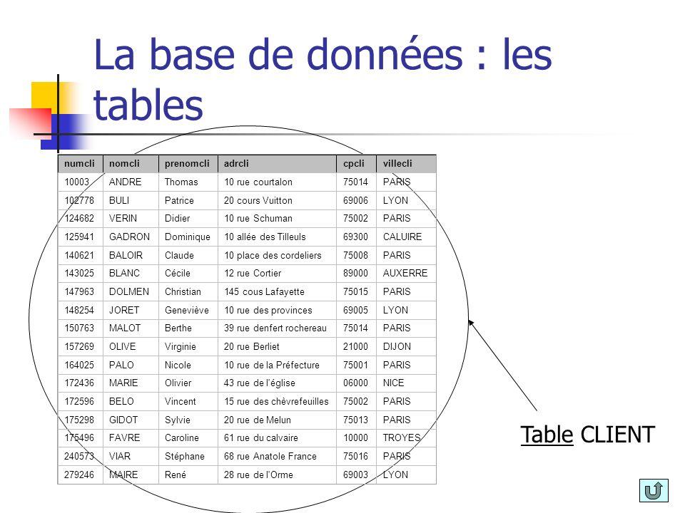 La base de données : les tables