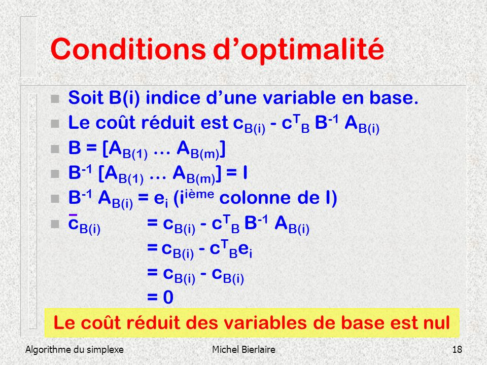 Conditions d'optimalité