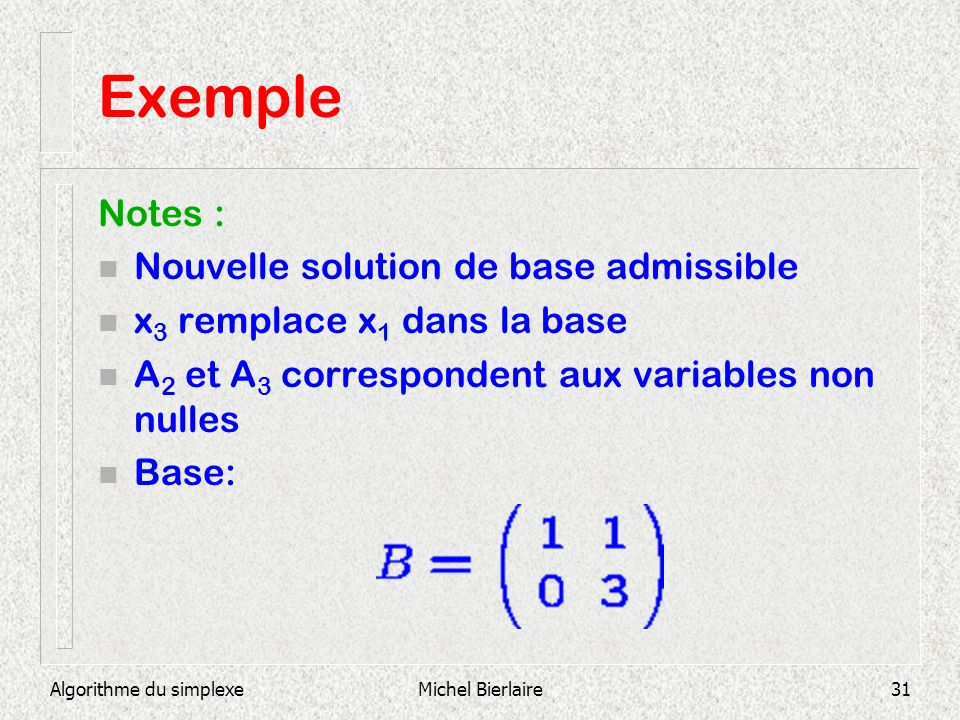 Exemple Notes : Nouvelle solution de base admissible