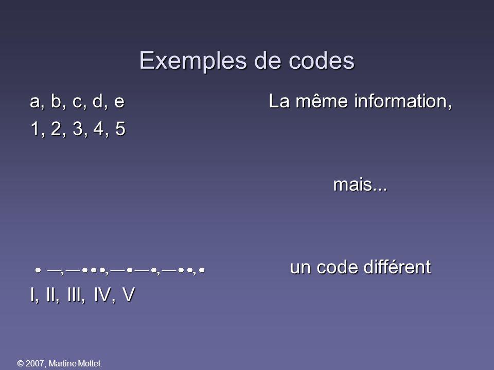 Exemples de codes a, b, c, d, e 1, 2, 3, 4, 5 
