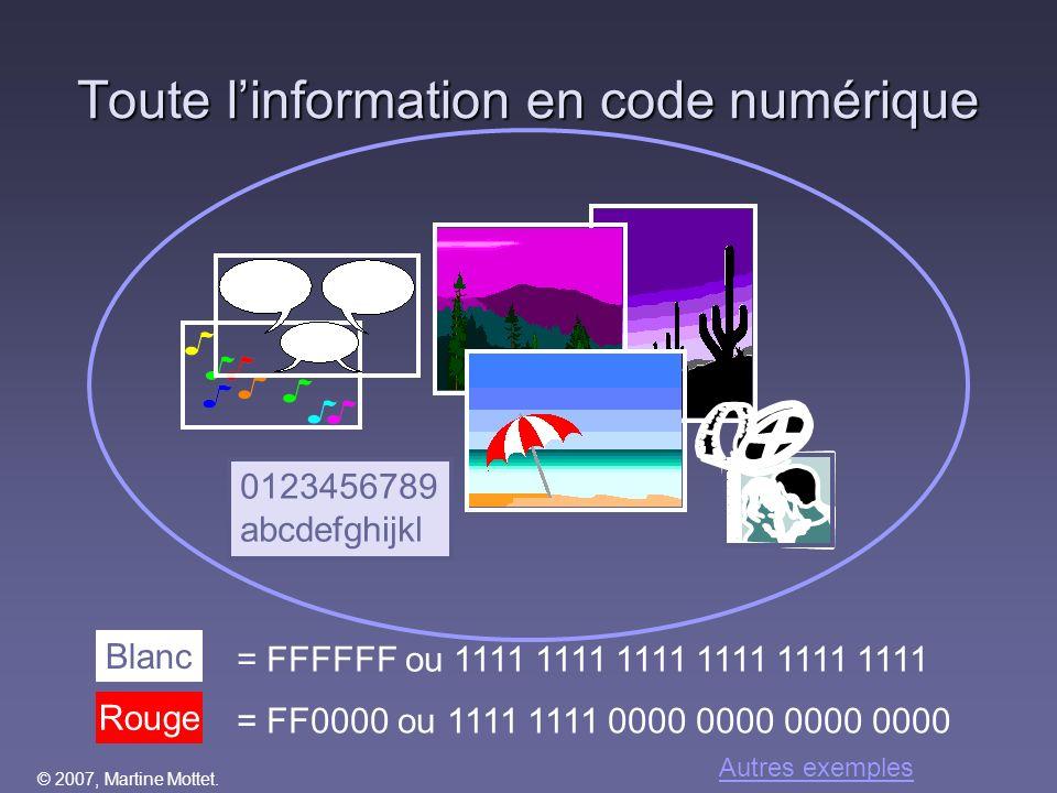 Toute l'information en code numérique