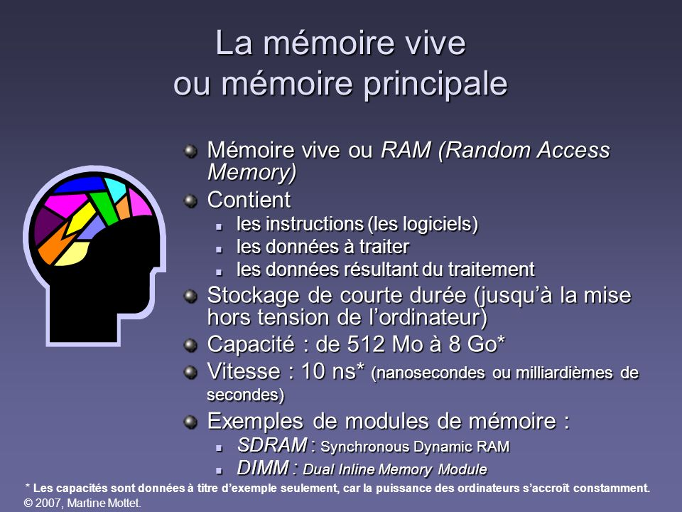 La mémoire vive ou mémoire principale