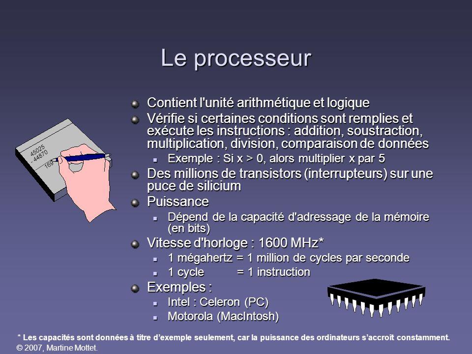 Le processeur Contient l unité arithmétique et logique